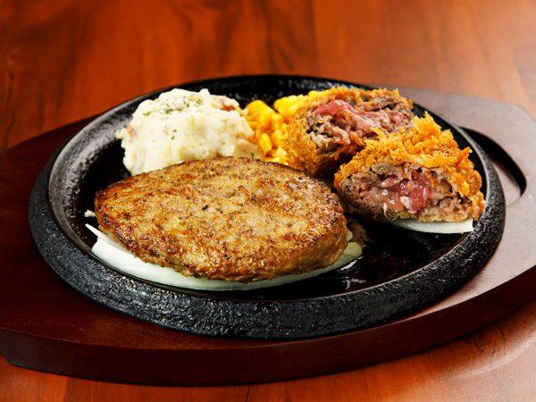 やわらか合い挽きハンバーグ&手付けパン粉の牛肉ミルフィーユカツ<span>Hamburger (Ground Beef and Pork) & Mille-feuille Cutlet</span>