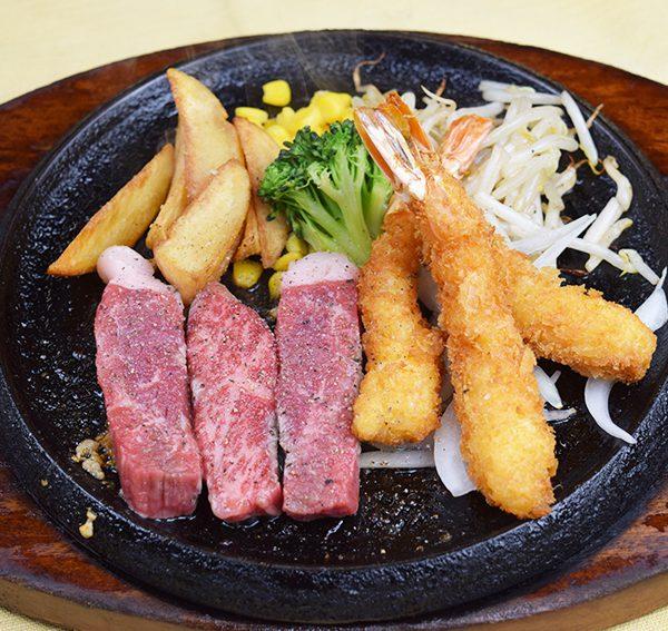 こだわりカットステーキ&ぷりぷり海老フライ(3尾)
