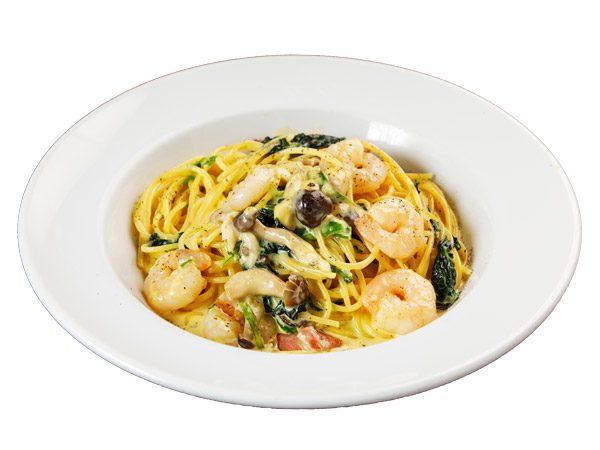 ぷりぷり海老カルボナーラ<span>Pasta Carbonara with shrimps</span>