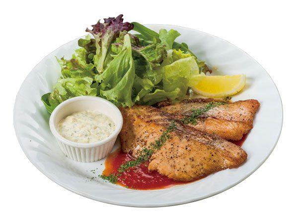 サーモンステーキ タルタルソース<span>Salmon Steak with Tartar Sauce</span>