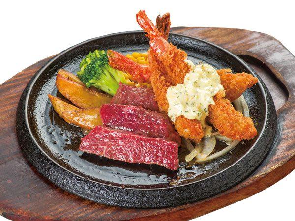 こだわりカットステーキ&ぷりっぷり海老フライ(3尾)