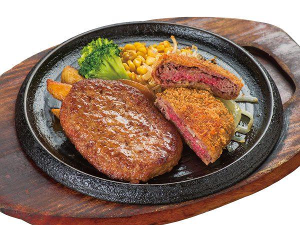 特製手ごねハンバーグ&手付けパン粉の牛肉ミルフィーユカツ