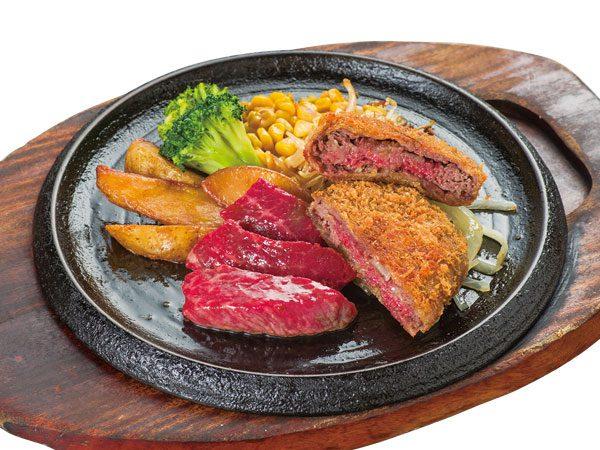 こだわりカットステーキ&手付けパン粉の牛肉ミルフィーユカツ