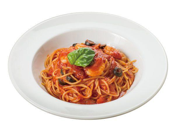 ぷりっぷり海老のトマトソーススパゲティ