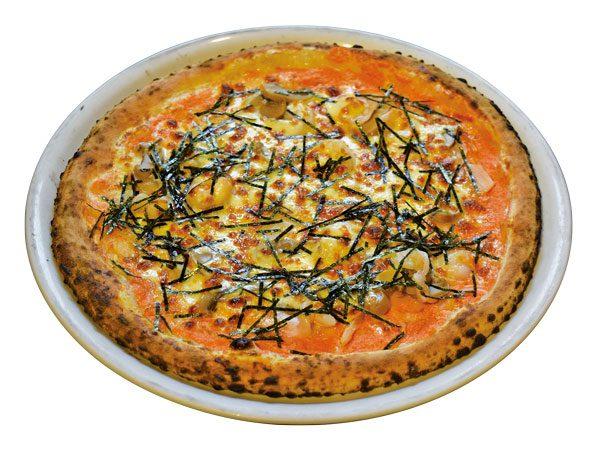ぷりっぷり海老と博多明太クリームのピッツァジャポネーゼ