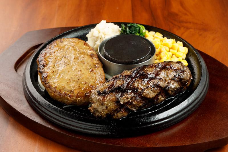 牛100%網焼きグリルハンバーグ&やわらか合い挽きハンバーグ<span>100% All-Beef Hamburger&Hamburger(Ground Beef and Pork)</span>