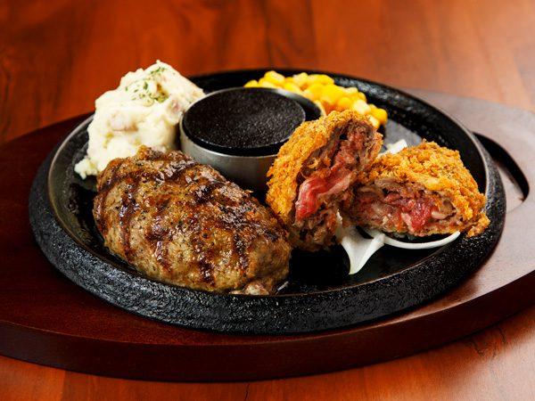 牛100%網焼きグリルハンバーグ&手付けパン粉の牛肉ミルフィーユカツ<span>100% All-Beef Hamburger & Mille-feuille Cutlet</span>