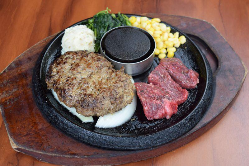 牛100%手焼きハンバーグ & カットステーキ<span>100% All-Beef Hamburger & Pre-Cut Steak</span>