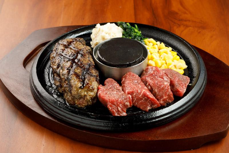 牛100%網焼きグリルハンバーグ & カットステーキ<span>100% All-Beef Hamburger & Pre-Cut Steak</span>