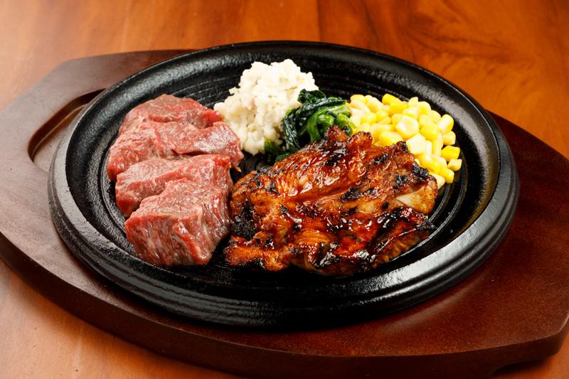 カットステーキ&スパイシースペアリブ<span>Pre-Cut Steak & Spicy spare ribs</span>