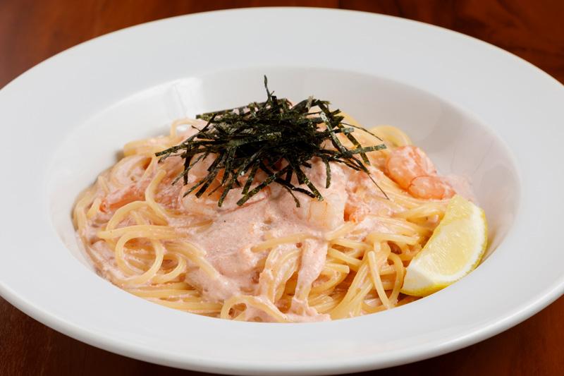ぷりぷり海老の明太クリームスパゲティ<span>Pasta shrimp with mentai cream</span>