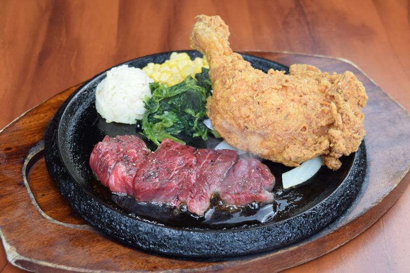 カットステーキ&まるごと1本フライドチキンレッグ<span>Pre-Cut Steak & One whole fride chiken leg</span>